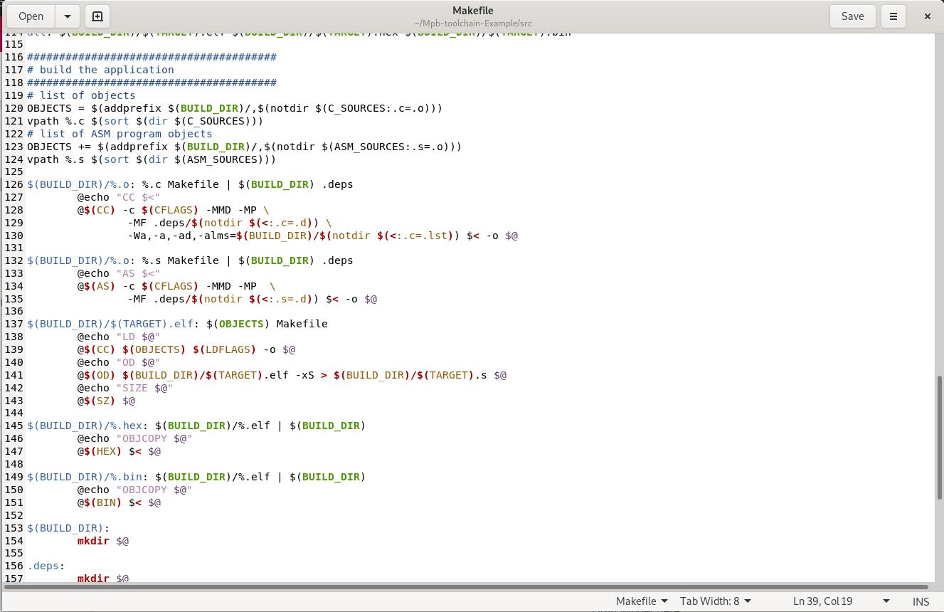 於 Mpb-toolchain-Example/src 下的Makefile內容